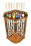 Pool Cue Rack Only- Billiard Stick Stand Holds 8 Cues & Ball Set Oak Finish (Oak)