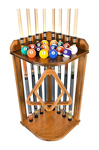 Pool Cue Rack Only- Billiard Stick Stand Holds 8 Cues & Ball Set Oak Finish (Oak)
