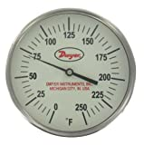 Dwyer® Glow-in-the-Dark Bimetal Thermometer, GBTA590161, 0-500°F, 9'' Stem, Adjustable Connection