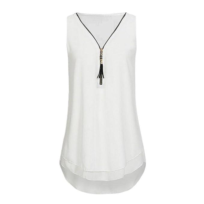 Levifun Camiseta de la Ropa Tops para Mujer, Suelto Vendas Cruzadas traseras Hem Layered Zipper