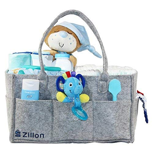 Zillon Baby Diaper Caddy: Deluxe Felt Diaper Caddy Organizer| Modern, Stylish & Durable Storage Caddy Organizerfor Diapers, Wipes, Toys| Large Portable Nursery/Car Storage Bin| Top Baby Show