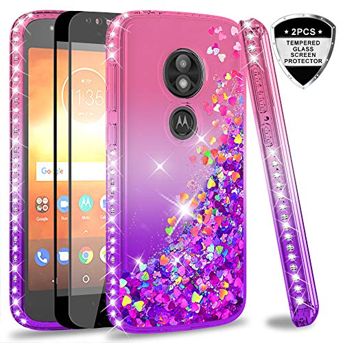 Moto E5 Play Case, Moto E5 Cruise Case (Not Fit Moto E5) with Tempered Glass Screen Protector for Girls Women, LeYi Glitter Cute Moving Quicksand Liquid Phone Case for Motorola E5 Play ZX Pink/Purple