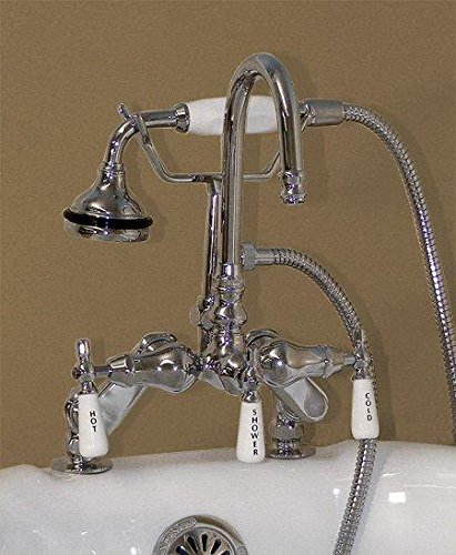 Telephone Tub Faucet - Deck Mount Gooseneck Telephone Style Bathtub Faucet w/ Adjustable Spread- Chrome