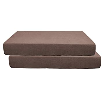 2Pcs Dark Brown /_Size S Stretch Sofa Seat Cushion Cover Couch Slipcover