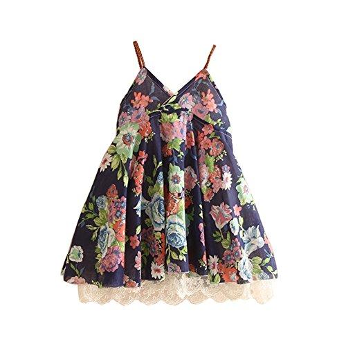 Mud Kingdom Girls Slip Dress Floral Chiffon Summer Holiday Size 5 Navy