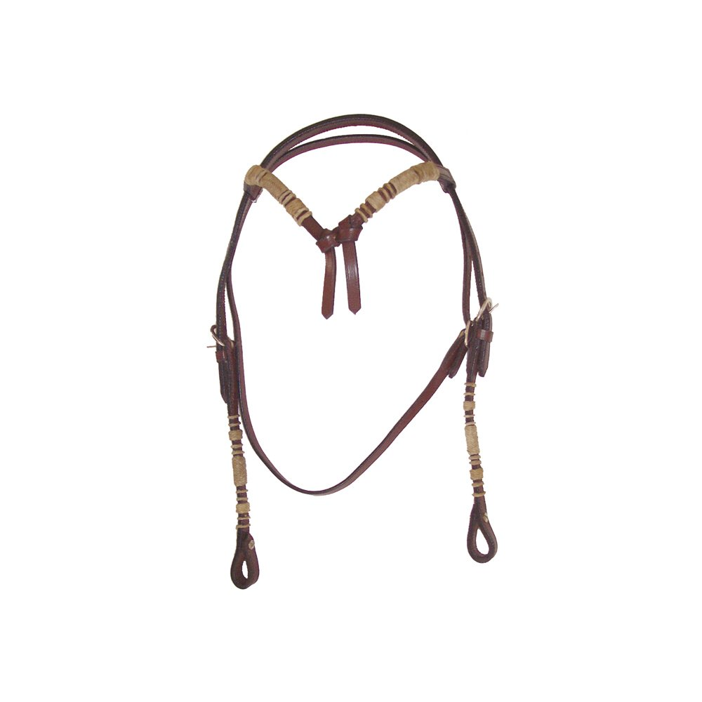 Dark brown (di mgold) Bridle Western Bow Bezel, Rawhide, Complete with Reins Finish (Size unuca) – br00413