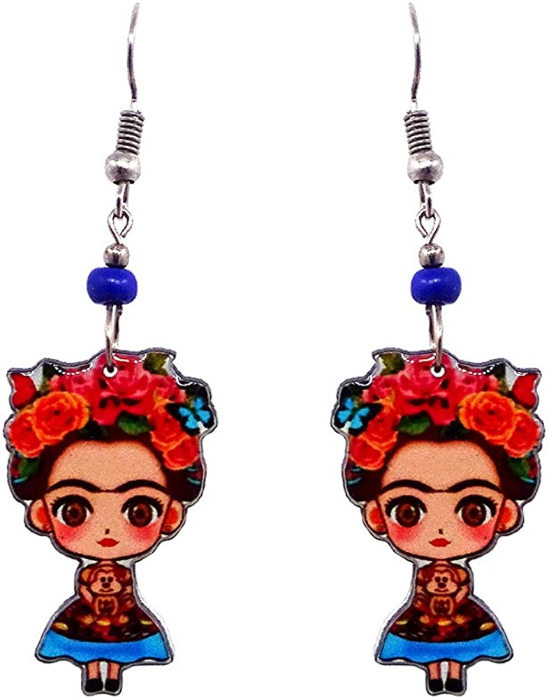 Mia Jewel Shop Frida Kahlo Famous Artist Cartoon Dangle Earrings