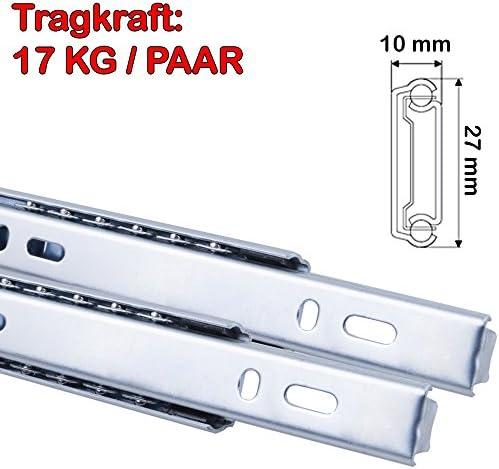 182 mm L Schubladenschienen 2 ST/ÜCK Teilauszug Rollenauszug Kugelf/ührung H 17