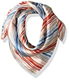 LAUNDRY BY SHELLI SEGAL Women's Watercolor Stripe Silk Square Scarf, Poppy, One Size