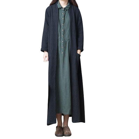 76d957227242c3 Femmes Long Cardigan en Lin en Coton Veste Manches Longues Pull ...