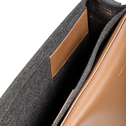 Fint Filt Og Business Dokumentmappe Bt2 Af Ægte Læder Og Filt Applikationer I Forskellige Læder / Filzkombinationen (mørkebrun) Brændevin jOUguB