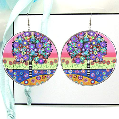 Millefiori Tree Hoop Earrings, Artist Sketch Resin Picture Image, Stained Glass Style Silver Framed Circle Hoops