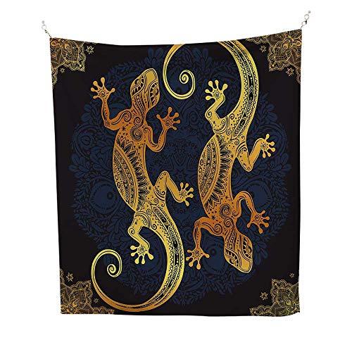 ryArtistic Gecko Lizards Boho Framework Tropical Henna Tattoo Style 60W x 91L inch Art tapestryDark Orange Yellow Dark Blue ()
