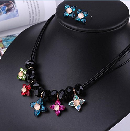 Flower Peel wax rope alloy crystal necklace earrings suit sets Clothing (Flowers Rope Earrings)