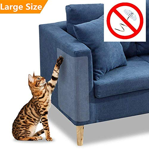 Pet Couch Protector, 2PACK Clear Pet Cat Dog Claw Guards Self-Adhesive Pads, Discreet Cat Scratch Furniture Protector Pad Deterrent,Cover to Protect The Upholstery, Door, Walls,Mattress,Car Seat ()