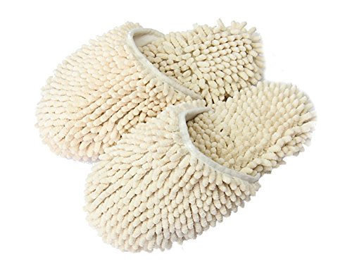 yi-nuo-chenille-floor-dust-mop-shoes-mopping-slippers-removable-cleaning-tool-beige