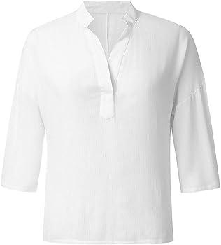Camiseta Suelta De Manga Corta Camisa con Cuello En V Color Sólido ...