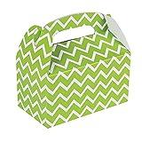 12 Lime Green Chevron Treat Boxes 6'' x 3 3/4'' x 6''