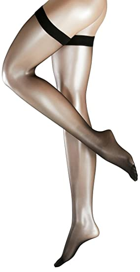 e67dce01cc09d Falke Womens Invisible Deluxe 8 Denier Ultra-Transparent Matte Stay Up  Stockings - Black -