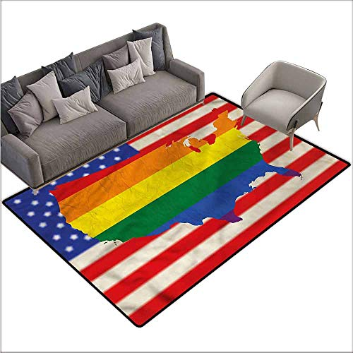 """Rug Bathroom Mat Pride,USA Flag Gay Rights 48""""x 60"""",American Floor mats"""