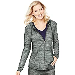 Hanes Women's French Terry Full-Zip Hoodie, Black Space Dye, Medium