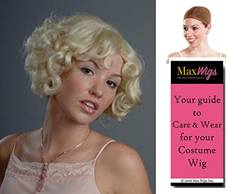 Cutesy Southern 30s Gal Color Blonde - Enigma Wigs Women's 1920s Speakeasy Curly Fun Bundle with Wig Cap, MaxWigs Costume Wig Care Guide (Wig 1920s Bob)