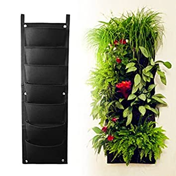 AMARS Garden Vertical Hanging Wall Planter, 7 Pockets Wall Mounted Green  Planter Pouch For