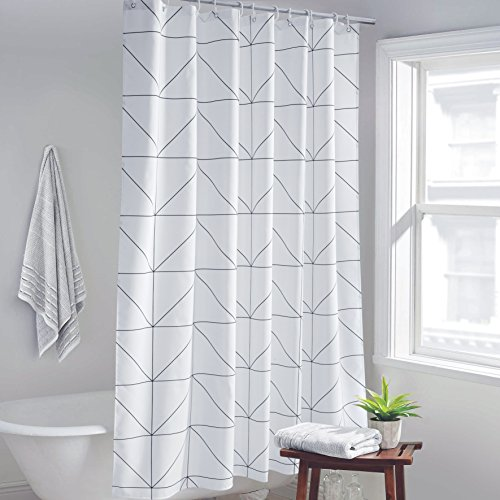 WeusFun Contemporary Shower Curtain White Background Home Fashion Shower Curtain Polyester Waterproof, No Mold Bath Curtain Anti-Bacterial, White/Black, 72