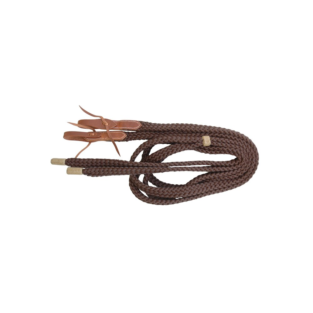 Brown pool' S Western Nylon Braided Reins with carry-overs Leather