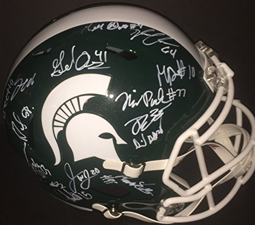 2016-Michigan-State-Spartans-Team-Multi-Signed-Full-Size-Helmet-COA