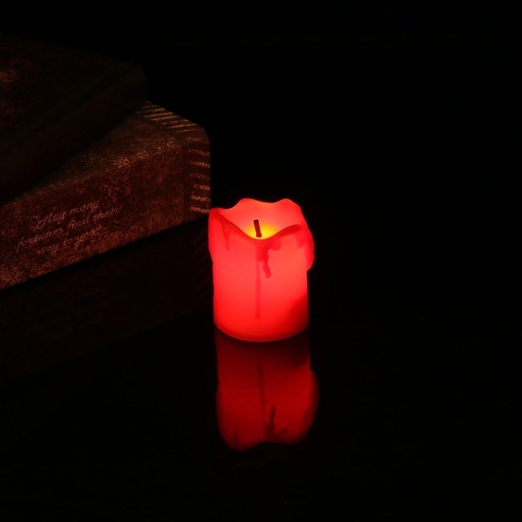 Beige Lunji 2pcs Bougie LED sans Flamme /électrique D/écoration de No/ël Mariage F/ête