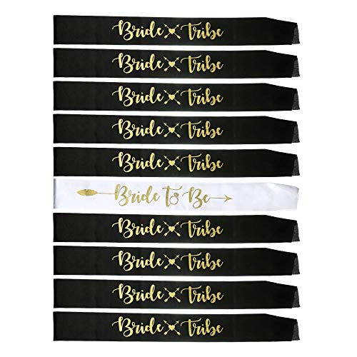 YZDING Set of 10 Bride to Be Sash Bridesmaids Bachelorette Party Sashes Party Favors Gifts Bridal Shower Decorations (Black, White, Gold Lettering)