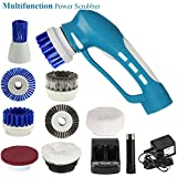Fine Dragon Handheld Household Bathroom Power Scrubber Brushes Electric Cordless Rechargeable Cleaning Scrubberwith Multiple Brush Head Cleaning Tool Set (Blue)