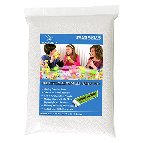 Mini Foam Balls - Polystyrene Micro Beads 50,000 Piece for Slime Making and Household School DIY Arts Crafts - White ()