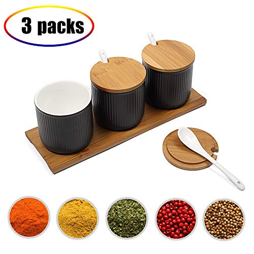 Ceramic Food Storage Spice Containers with Bamboo Lid- Porcelain Jar- Perfect Canister for Sugar Bowl, Serving Tea, Coffee, Spice,Nuts jar, Holding Dressings, Dipping, Salad Bar Serving- Condiment