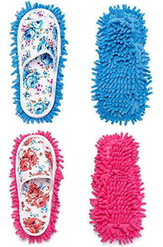 - 2 Pairs Microfiber Slipper Cleaning Mop Slippers Washable Detachable House Shoe Cover Dust Floor Cleaner for Bathroom Office Kitchen, Blue + Rose Red