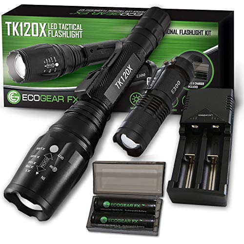 Zoomable LED Tactical Flashlight Kit - EcoGear FX TK120X: 5 Light Modes, High Lumen Output, Water Resistant for Security & General Home Use - Batteries and Charger Included - Perfect Gift for Dad