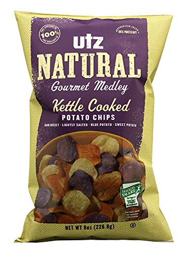 Potato Chips Blue (Utz Natural Gourmet Medley Kettle Cooked Potato Chips, 8 Ounce)