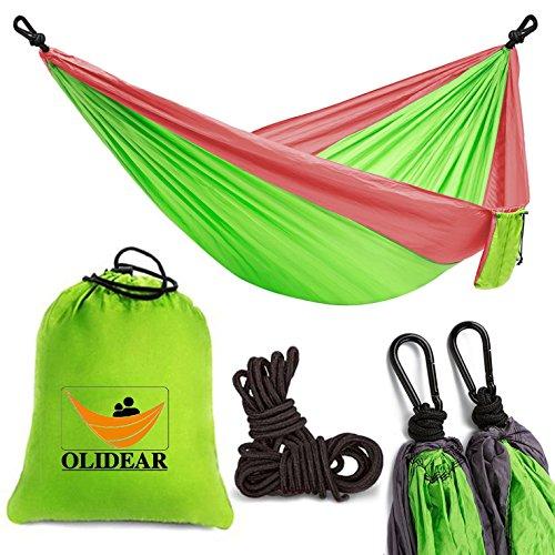 Olidear Portable Parachute Nylon Hammocks Ultralight Camping Hammock Garden Hammock for Backpacking Travel Beach Yard (Red & Green, 55