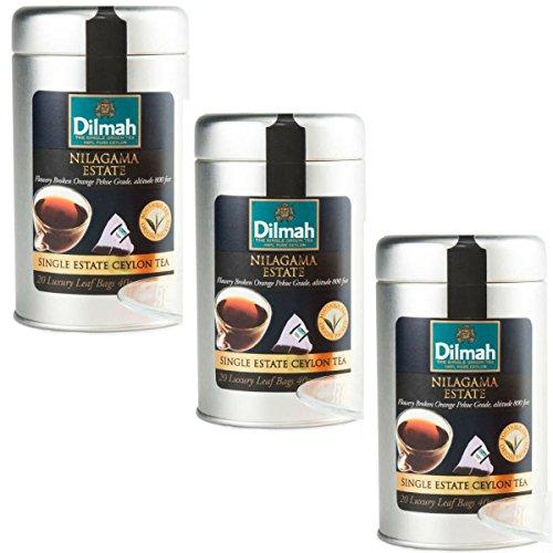 Dilmah Nilagama Single Estate Black Tea - 20 Luxury Tea Bags X 3 Pack Sri Lanka Ceylon Pure Black - Sapphire Ceylon Orange