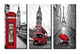 big eiffel tower - Yiijeah Painting,Modern Wall Art,Abstract Paris Gray Eiffel Tower Big Ben Landscape and Red Bus Umbrella Picture Print on Canvas for Photo Display,Framed Artwork for Living Room Bedroom Decoration