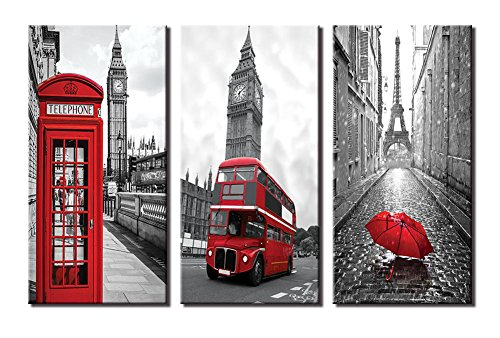 - Yiijeah Painting,Modern Wall Art,Abstract Paris Gray Eiffel Tower Big Ben Landscape and Red Bus Umbrella Picture Print on Canvas for Photo Display,Framed Artwork for Living Room Bedroom Decoration