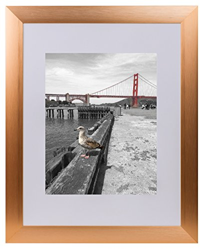 Ivory Metal Frames - Frametory, Metal Picture Frame Collection, 16x20 Aluminum Rose Gold Photo Frame with Ivory Color Mat for 11x14 Picture & Real Glass