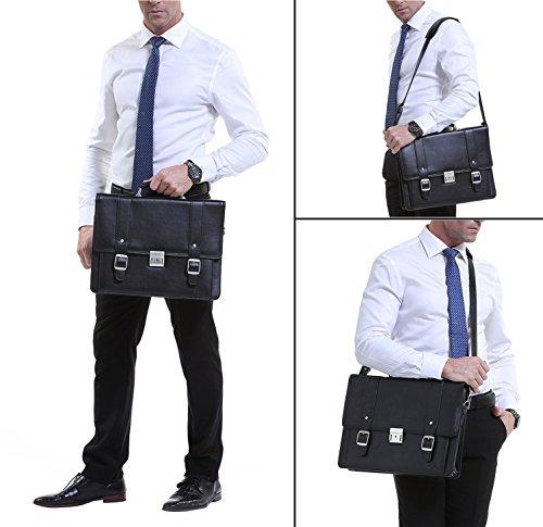 Ronts Men's PU Leather Briefcase Messenger Bag 15 Inch Macbook Laptop Shoulder Bag 015 by Ronts (Image #6)