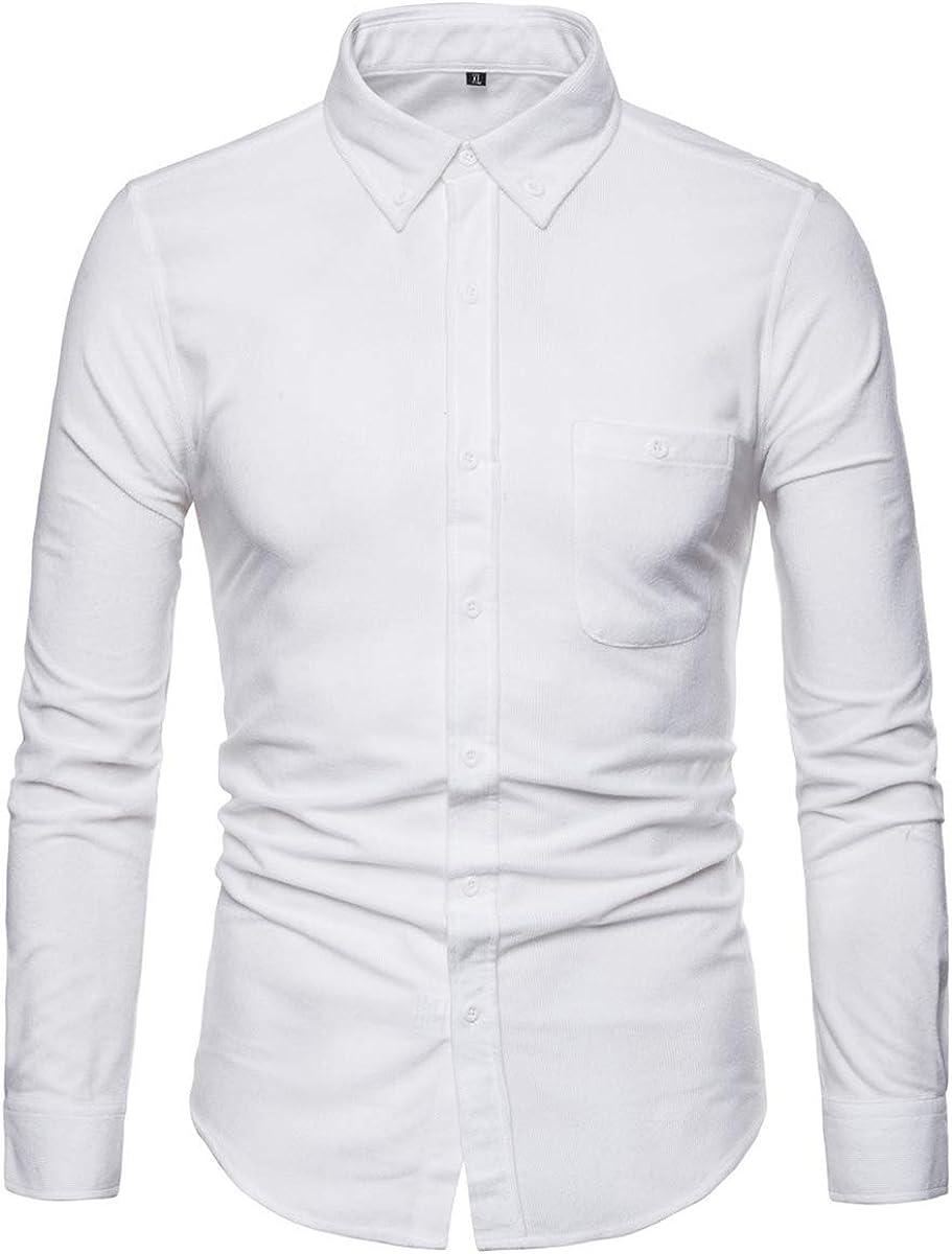 YFFUSHI Camisa de Manga Larga de Pana para Hombre, Ajustada, Informal, con 1 Bolsillo Abierto, con Botones - Blanco - Large: Amazon.es: Ropa y accesorios
