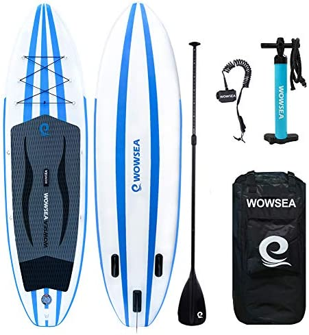 WOWSEA ISUP Inflatable Stand Up Paddle Board Includes Adjustable Paddle Travel Backpack Coil Leash for Youth and Adult