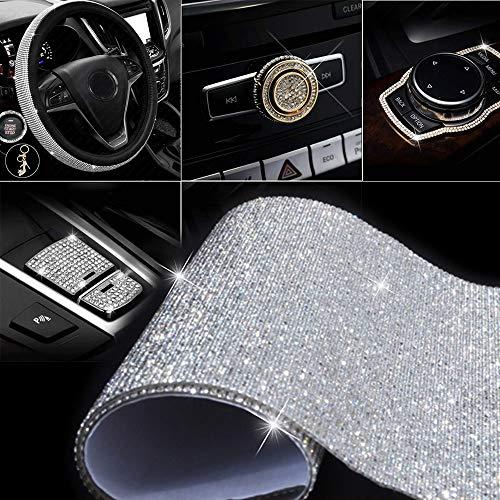 Self-Adhesive DIY Gems Bling Crystal Adhesive Rhinestone Sheets Car Cellphone Mobile Decoration Sticker Scrapbooking Embellishments24X40Cm Black, 2mm 9.45X15.75Inch