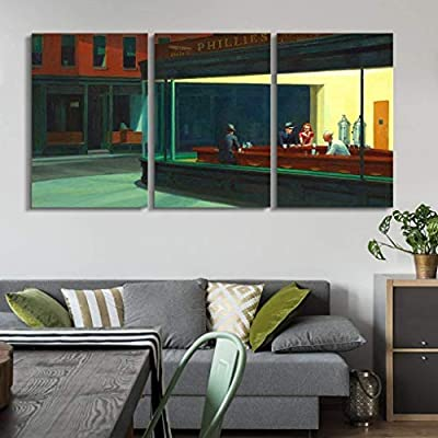 Gorgeous Portrait, Nighthawks by Edward Hopper Wall Decor x3 Panels, Crafted to Perfection