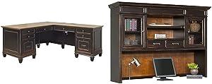 Martin Furniture Hartford L-Shaped Desk, Brown & Hartford Hutch, Brown - Fully Assembled