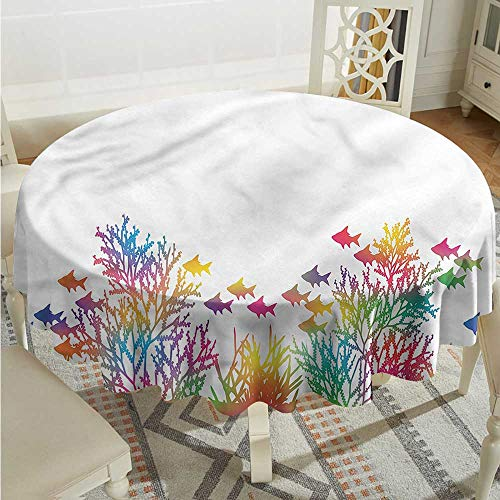Tim1Beve Under The Sea Anti-Fading Tablecloths Coral Seaweed Fish High-end Durable Creative Home D36 -